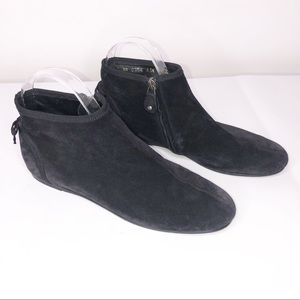 Ferragamo Black Suede Ankle Boots with Bow